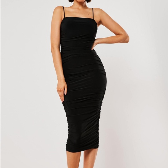 Missguided Dresses & Skirts - Slinky ruched bodycon midi dress